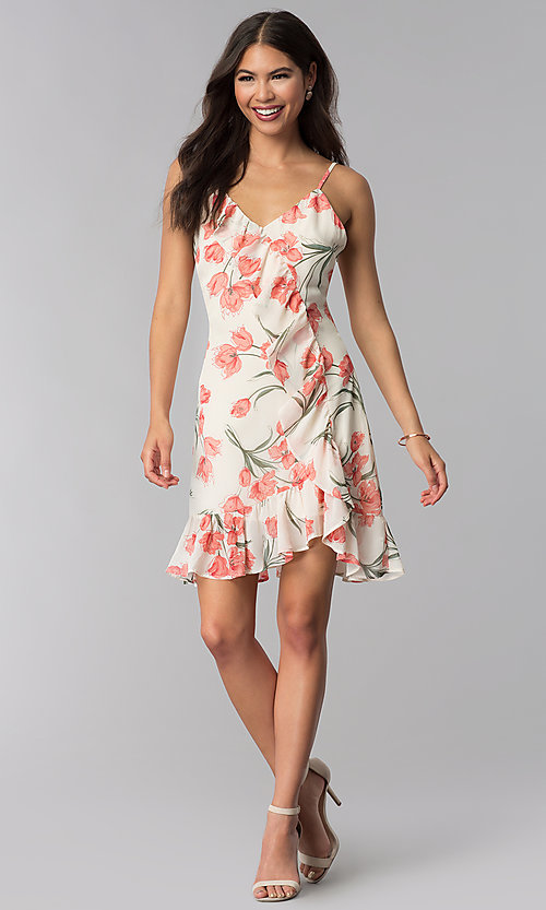 Image of short ivory and peach floral-print party dress. Style: STO-JD1280A Detail Image 3