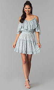 Image of wide-ruffle cold-shoulder short print party dress. Style: STO-JD1364 Detail Image 3