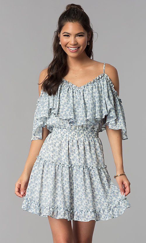 Image of wide-ruffle cold-shoulder short print party dress. Style: STO-JD1364 Front Image