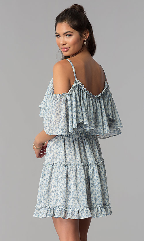 Image of wide-ruffle cold-shoulder short print party dress. Style: STO-JD1364 Back Image