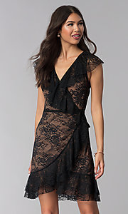 Image of black lace short wedding-guest wrap dress. Style: STO-SD1534 Front Image