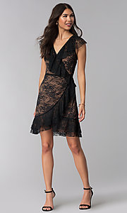 Image of black lace short wedding-guest wrap dress. Style: STO-SD1534 Detail Image 3
