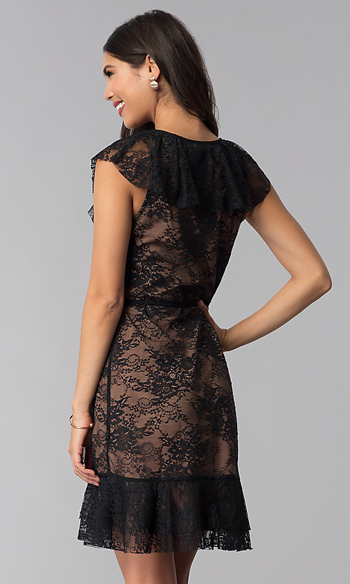 Image of black lace short wedding-guest wrap dress. Style: STO-SD1534 Back Image