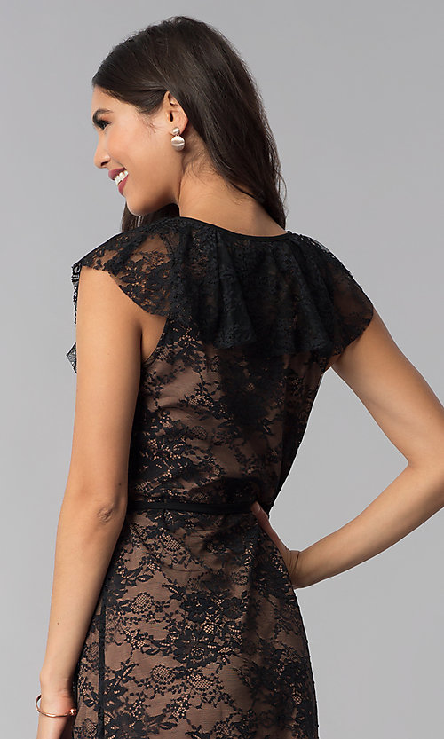 Image of black lace short wedding-guest wrap dress. Style: STO-SD1534 Detail Image 2