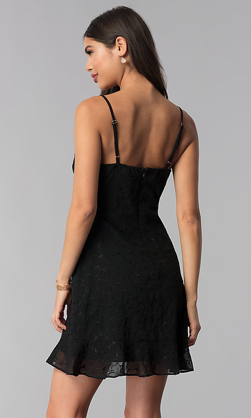 Image of little black party dress with tied neckline. Style: STO-SD1535 Back Image