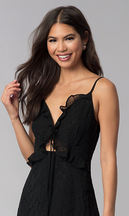 Image of little black party dress with tied neckline. Style: STO-SD1535 Detail Image 1