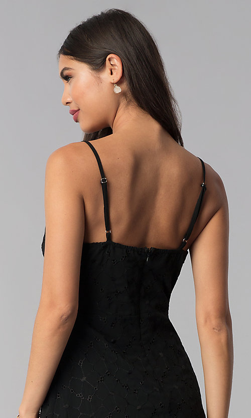 Image of little black party dress with tied neckline. Style: STO-SD1535 Detail Image 2