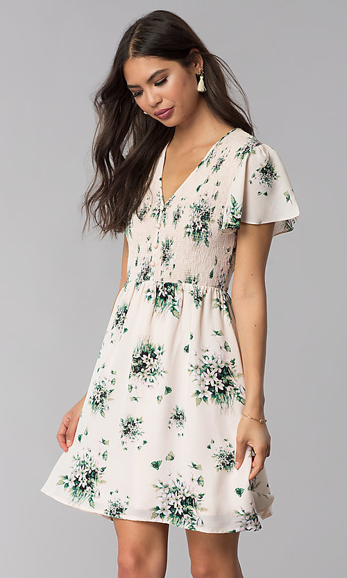 Image of short pink floral-print casual summer dress. Style: ESL-63010D-P Front Image