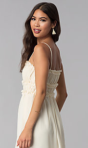 Image of tea-length cream party dress with ruching. Style: ESL-62456D-R Detail Image 2