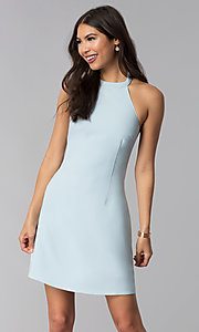 Image of short semi-formal high-neck a-line graduation dress. Style: ESL-62999D-P Detail Image 2