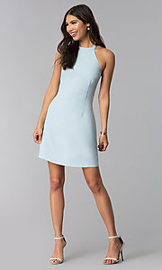 Image of short semi-formal high-neck a-line graduation dress. Style: ESL-62999D-P Detail Image 3
