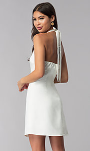 Image of short semi-formal high-neck a-line graduation dress. Style: ESL-62999D-P Back Image