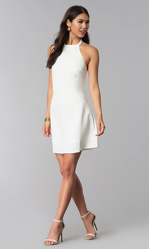Image of short semi-formal high-neck a-line graduation dress. Style: ESL-62999D-P Detail Image 1