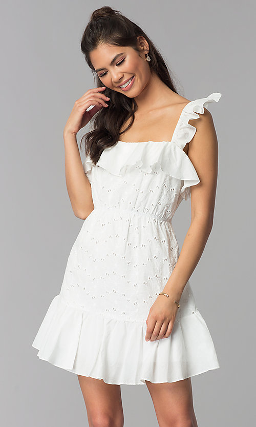 Image of short white eyelet-lace graduation party dress. Style: ESL-62471D-R Front Image