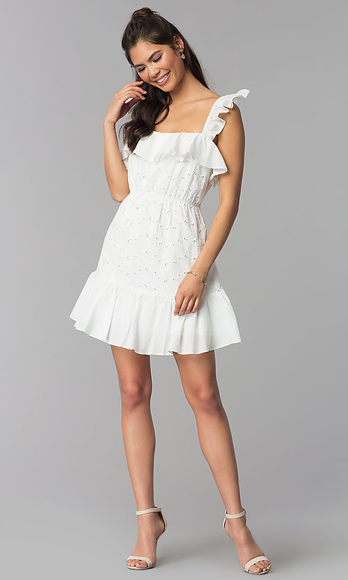 Image of short white eyelet-lace graduation party dress. Style: ESL-62471D-R Detail Image 3