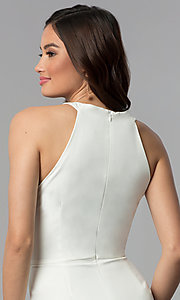 Image of white short faux-wrap graduation party dress. Style: ESL-62227D-K Detail Image 2