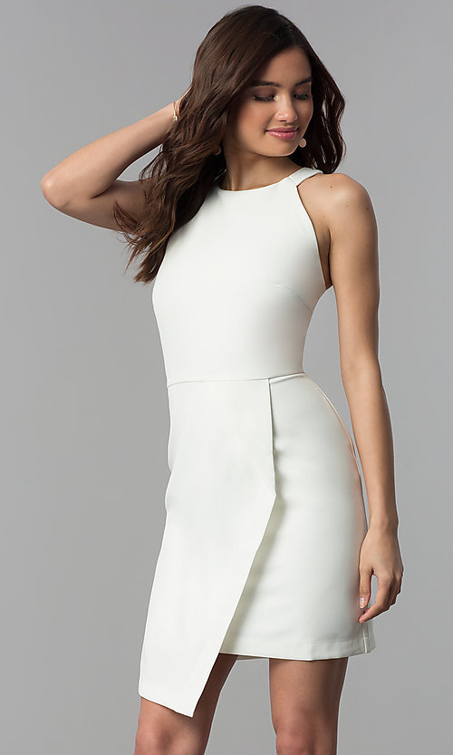 Image of white short faux-wrap graduation party dress. Style: ESL-62227D-K Front Image