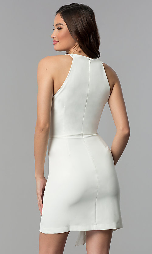 Image of white short faux-wrap graduation party dress. Style: ESL-62227D-K Back Image