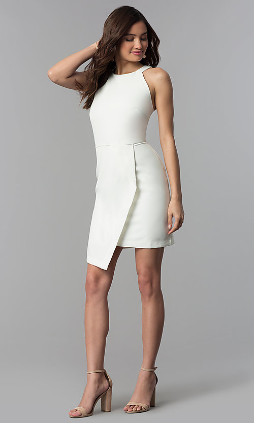 Image of white short faux-wrap graduation party dress. Style: ESL-62227D-K Detail Image 3