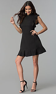 Image of ruffled short casual cruise party dress. Style: ESL-62138D-K Detail Image 2