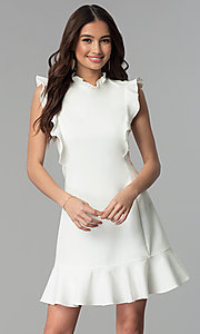 Image of ruffled short casual cruise party dress. Style: ESL-62138D-K Detail Image 3