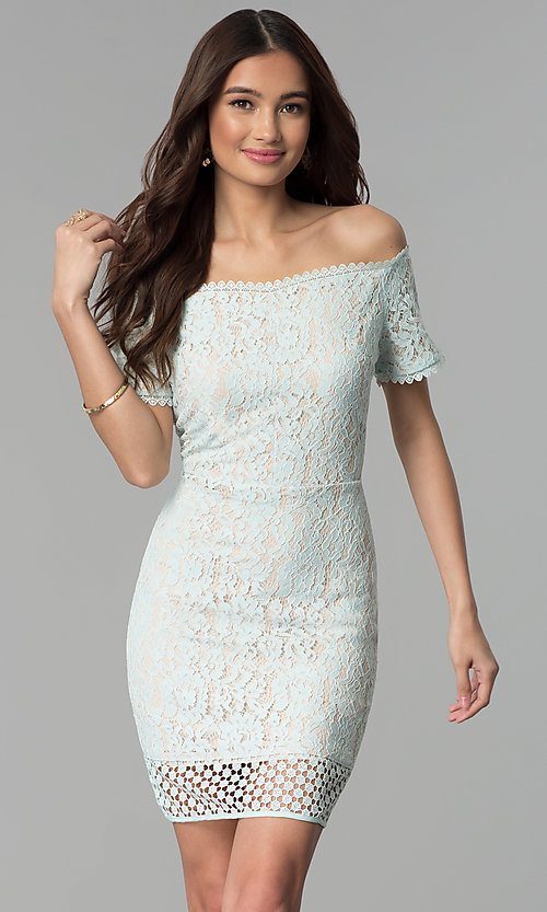 435413ae72 Image of short crocheted-hem off-the-shoulder party dress. Style: