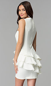Image of white short sleeveless graduation party dress. Style: ESL-62726D-Y Back Image
