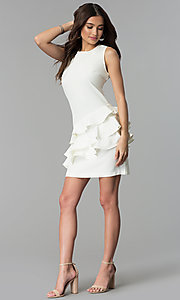 Image of white short sleeveless graduation party dress. Style: ESL-62726D-Y Detail Image 3