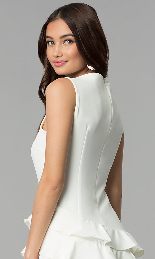 Image of white short sleeveless graduation party dress. Style: ESL-62726D-Y Detail Image 2