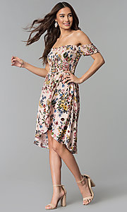 Image of floral-print mock-wrap off-shoulder casual dress. Style: ESL-62971D-P Detail Image 2