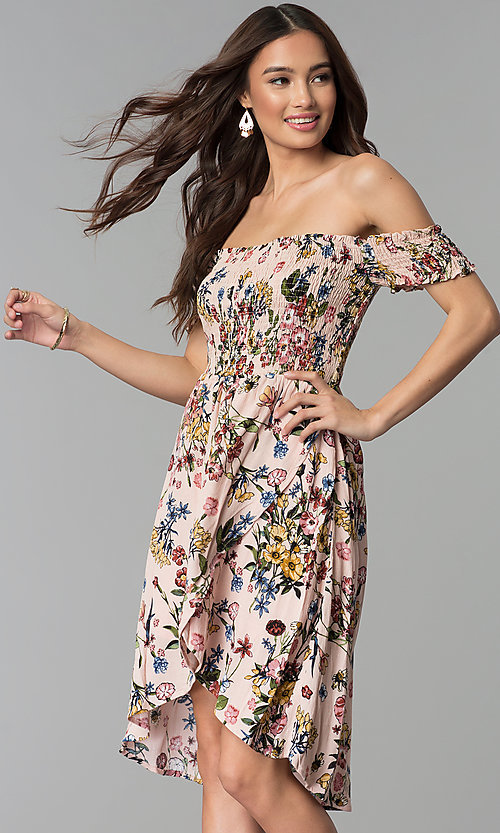 Image of floral-print mock-wrap off-shoulder casual dress. Style: ESL-62971D-P Front Image