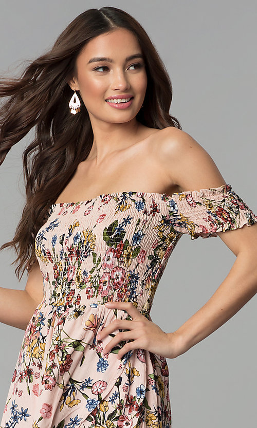 Image of floral-print mock-wrap off-shoulder casual dress. Style: ESL-62971D-P Detail Image 1