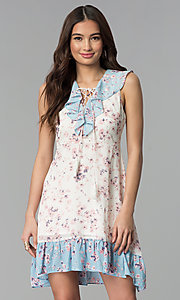 Image of short floral-print ruffled sleeveless casual dress. Style: ESL-62968D-P Front Image