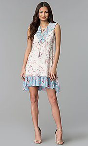 Image of short floral-print ruffled sleeveless casual dress. Style: ESL-62968D-P Detail Image 3