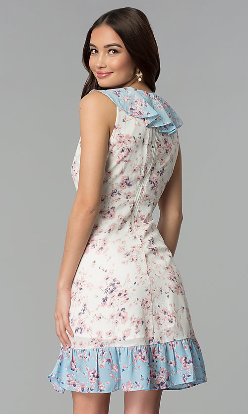 Image of short floral-print ruffled sleeveless casual dress. Style: ESL-62968D-P Back Image