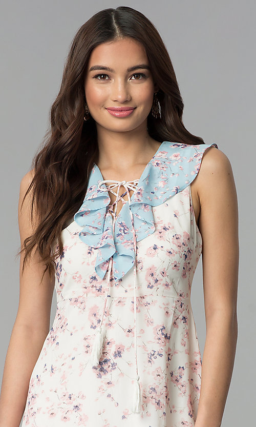 Image of short floral-print ruffled sleeveless casual dress. Style: ESL-62968D-P Detail Image 1