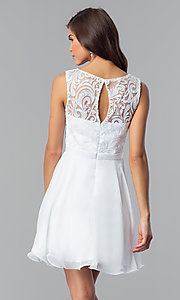 Image of short a-line white graduation dress with lace. Style: FB-GS2314wh Back Image