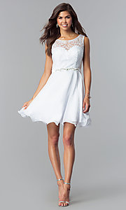 Image of short a-line white graduation dress with lace. Style: FB-GS2314wh Detail Image 1
