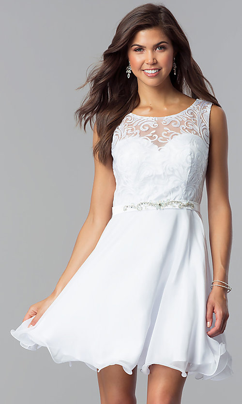 Image of short a-line white graduation dress with lace. Style: FB-GS2314wh Front Image