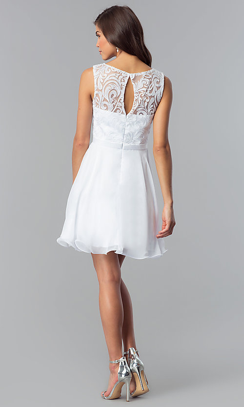 Image of short a-line white graduation dress with lace. Style: FB-GS2314wh Detail Image 2