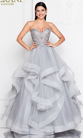 Long Strapless A-Line Prom Dress by Terani
