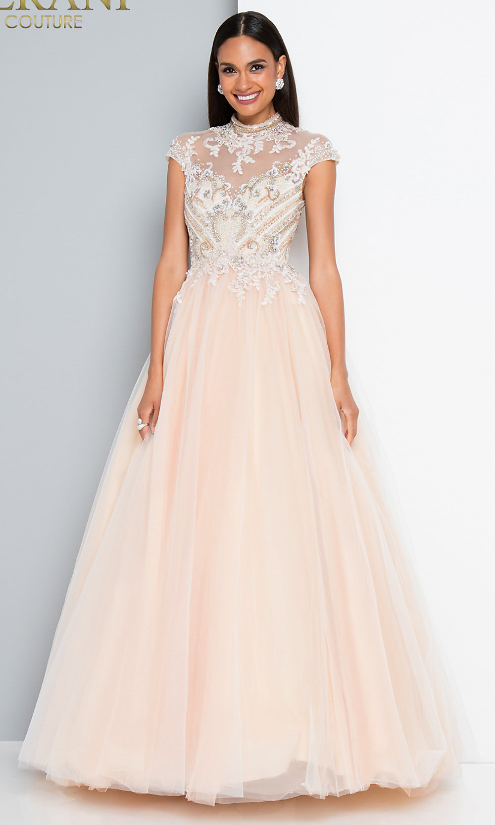 Long A-Line Terani Prom Dress with Cap Sleeves 90dcd108a