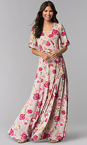 Image of long floral-print v-neck casual dress for parties. Style: RO-R68195 Front Image