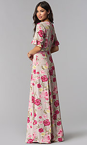 Image of long floral-print v-neck casual dress for parties. Style: RO-R68195 Back Image