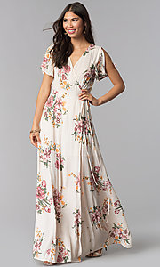 Image of maxi v-neck floral-print wedding guest dress.  Style: RO-R68203 Front Image