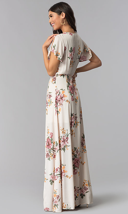 Image of maxi v-neck floral-print wedding guest dress.  Style: RO-R68203 Back Image