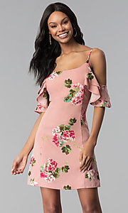 Image of short floral-print pink casual party dress. Style: RO-R66790 Front Image