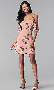 Image of short floral-print pink casual party dress. Style: RO-R66790 Detail Image 3