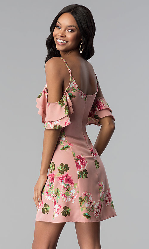 Image of short floral-print pink casual party dress. Style: RO-R66790 Back Image