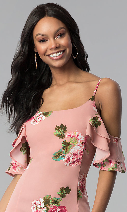 Image of short floral-print pink casual party dress. Style: RO-R66790 Detail Image 1